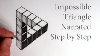How to Draw The Impossible Triangle with 3d Cubes: Optical Illusion