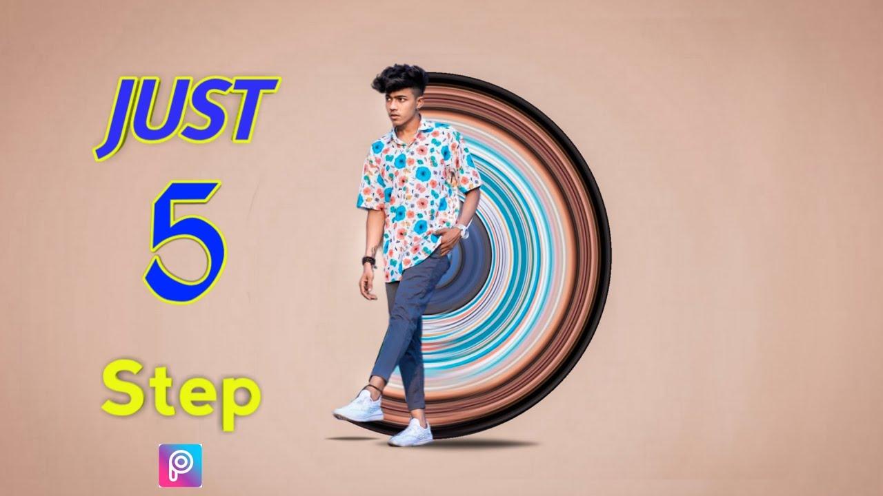 OMG!Just 5 Step Picsart Circular Stretch photo editing Easily 😉- Picsart photo Editing   BHM editor