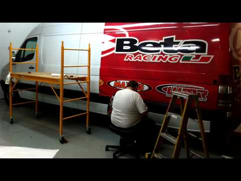 Hygh Octane Graphics - Chris Bach   Beta Racing sprinter wrap install