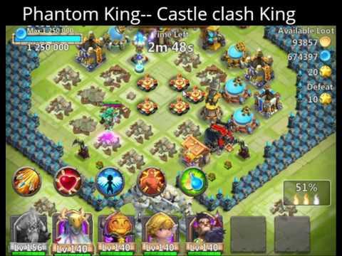 Castle Clash Deadly Phantom King Single Battle Alone One Hit Kills Even Lvl180~200 Also.