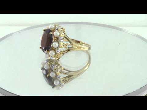Antique Diamond With Pearl & Garnet 10K Yellow Gold Ring