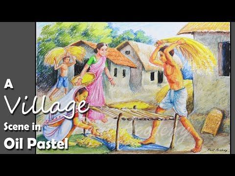 How to Paint A Village Scene with Oil Pastel | Thrash Paddy