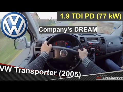 VW Transporter T5 1.9 TDI 77 KW (2005) - POV Test Drive + Acceleration 0 - 160 Km/h