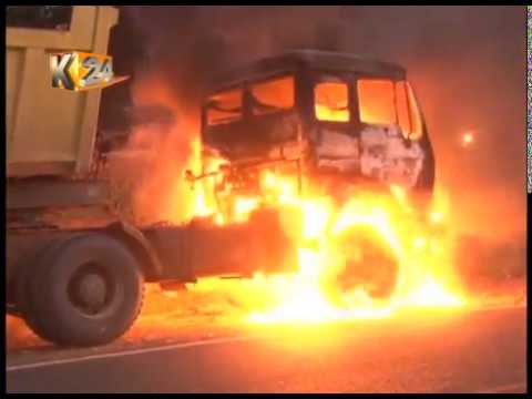 Youths set ablaze a lorry after the driver knocked down a bodaboda rider