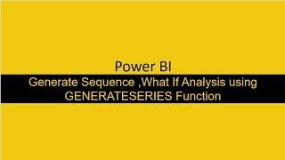 إنشاء التسلسل وتفعل ما إذا كان التحليل في السلطة ثنائية باستخدام GENERATESERIES وظيفة