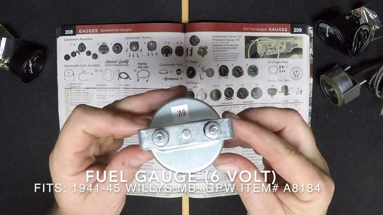 instrument panel fuel gauge 12 volt fits 41 66 mb gpw cj 2a 3a 3b m38 m38a1 [ 1280 x 720 Pixel ]