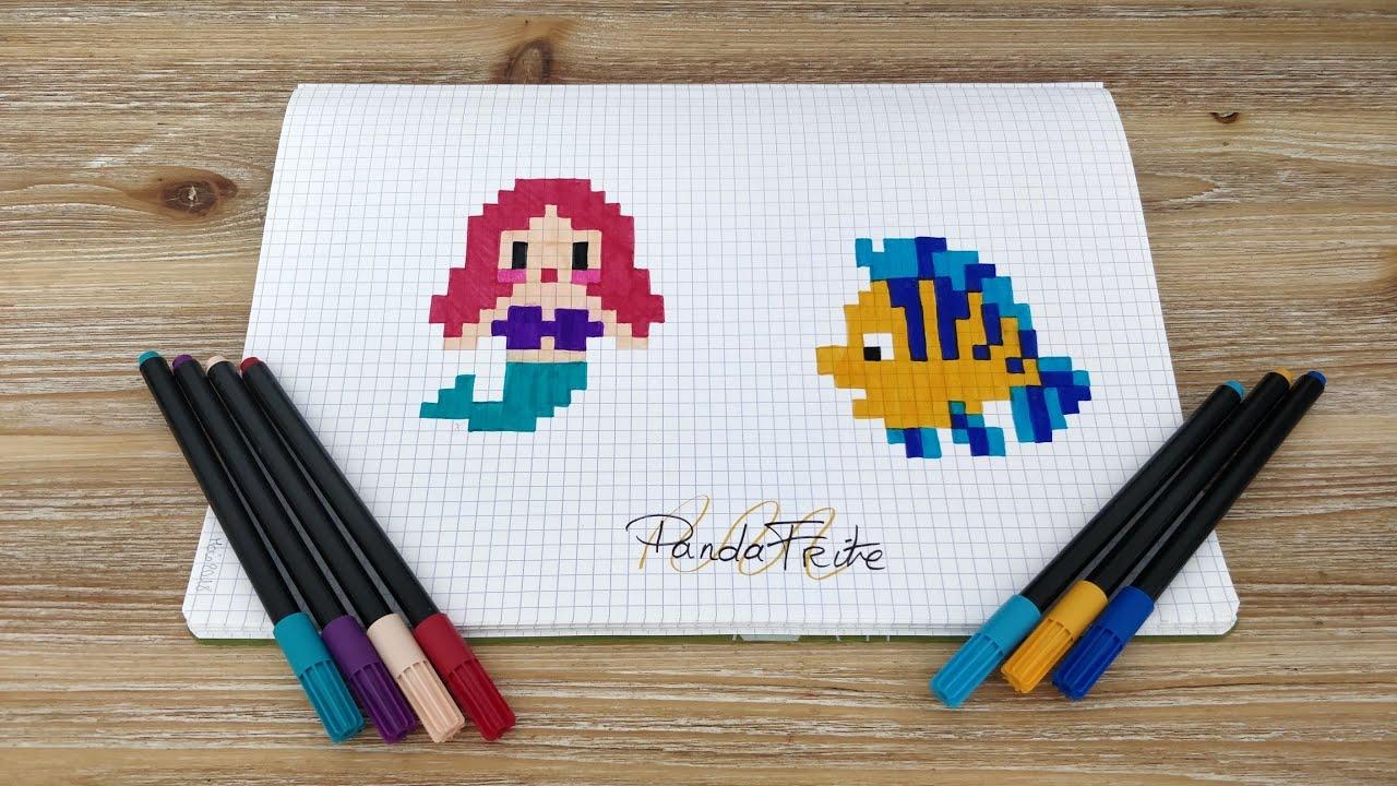 Pixel Art Ariel Et Polochon La Petite Sirène Disney