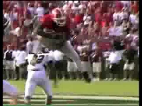 Knowshon Moreno hurdles Central Michigan defender