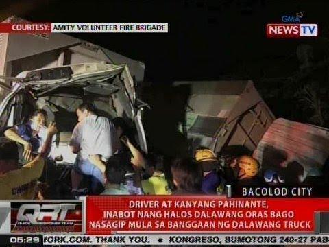 QRT: Driver at kanyang pahinante, inabot nang halos 2 oras bago nasagip mula sa banggaan ng 2 truck