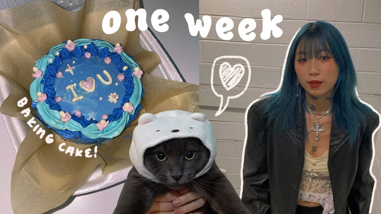 WEEK IN MY LIFE 💙// baking cake, tattooing, dyeing hair, what i eat + workout ☁️✨
