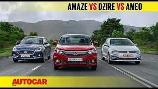 Honda Amaze vs Maruti Dzire vs VW Ameo | Diesel Auto Comparison Test | Autocar India