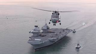 HMS Queen Elizabeth enters Portsmouth