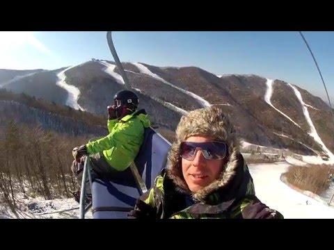 Snowboarding at High 1 Resort in Korea