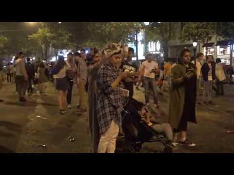 Euro2016 : Incidents entre supporters et CRS sur les Champs-Elysées. Paris/France - 07 Juillet 2016