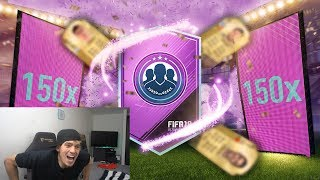 WORLD RECORD BREAKING 150 X 2 PLAYER OVERPOWERED SBC PACKS!! (Crazy Fifa 18 Pack Opening)