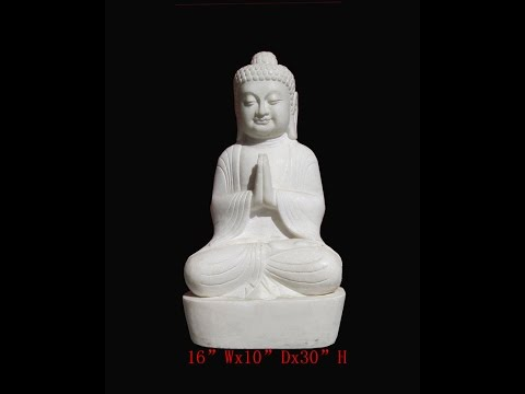 Chinese Antique White Marble Hand Carving Sitting Buddha Statue WK2883