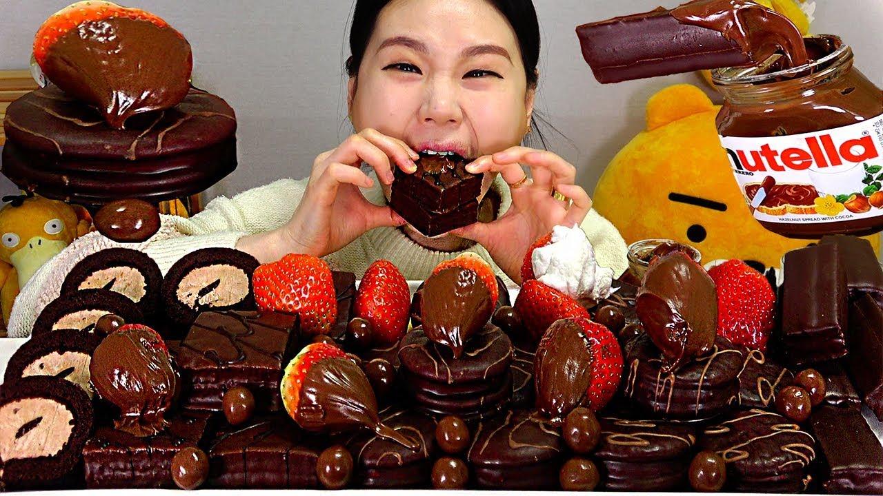 SUB 누텔라 오예스 몽쉘 Nutella, Hershey's Choco Pie, Moncher, Oh Yes, Choco Cream Cake Mukbang Eating Sound