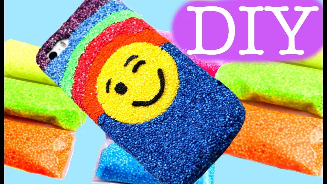Emoji foam clay phone cover DIY. Slime foam clay - YouTube