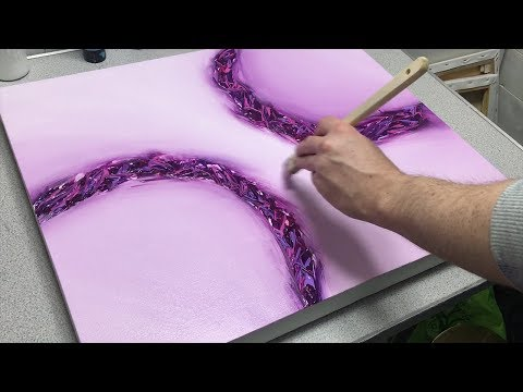 Pink Abstract Acrylic Painting   Blending with Acrylics