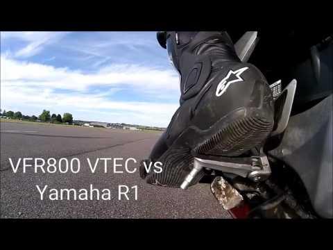 VFR800 VTEC vs Yamaha R1 0-60 0-100 0-125 Henstridge Airfield