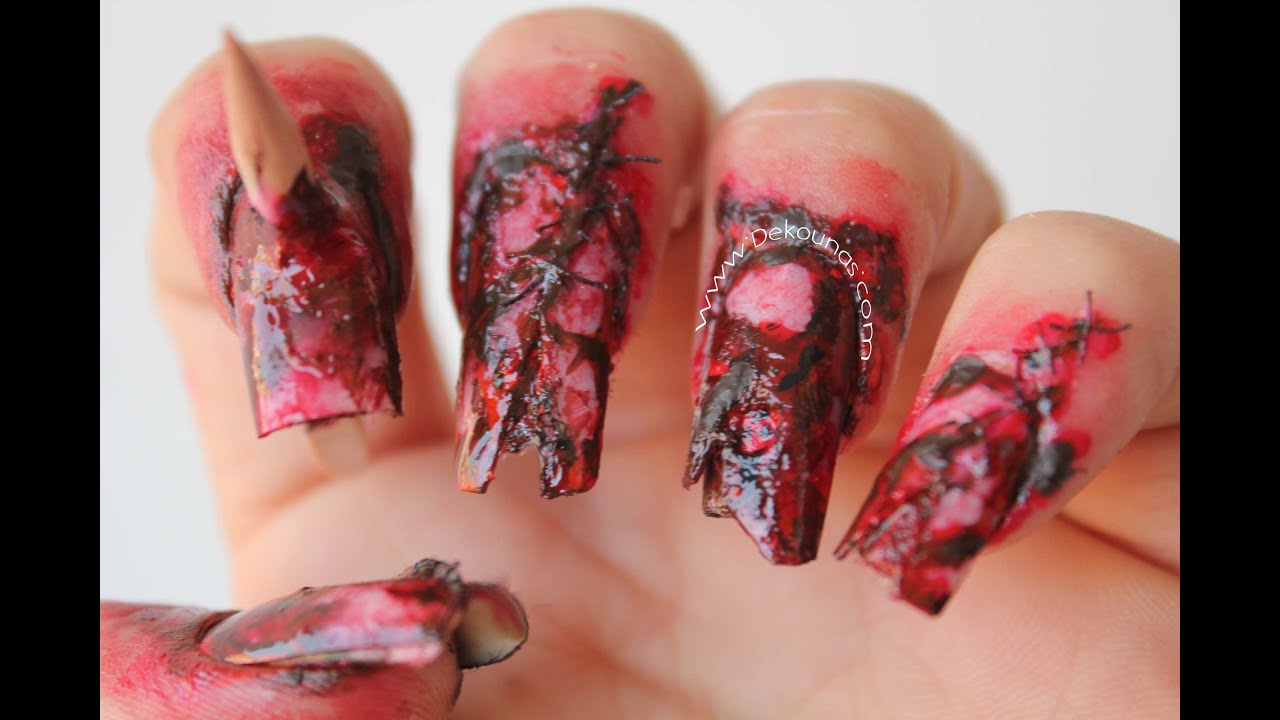 Decoraci n de u as zombie halloween zombie nail art for Decoracion de halloween