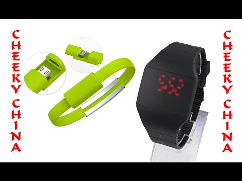 LED часы / Светодиодные часы / Самые дешевые часы из Китая / USB браслет Aliexpress / кабель Usb
