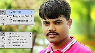 Photoshop cc | Photo cutting Pen Tool and Lasso Tool use techniques  in Hindi