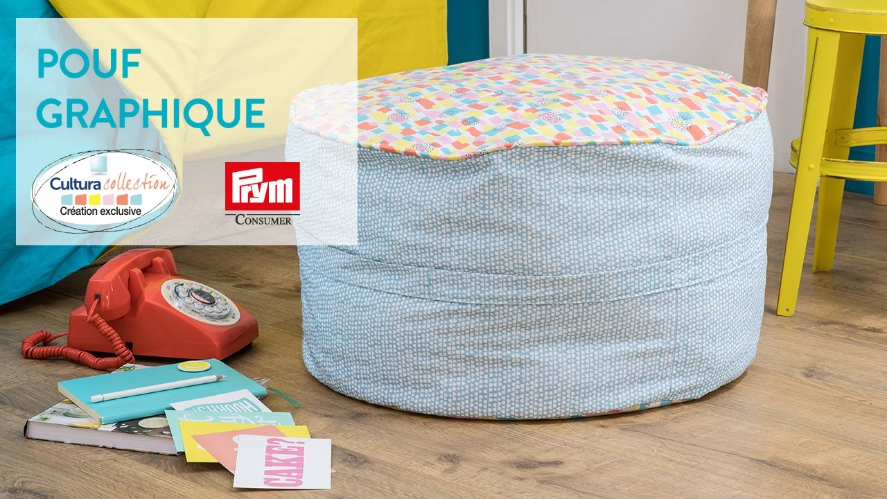 Diy Creatif Pouf Graphique Arty Youtube
