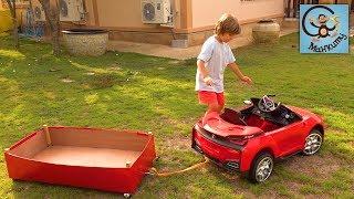 Манкиту Милан и Папа делаем прицеп для красной машинки. МанкиТайм Kids Show