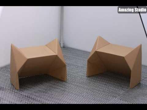 Origami Möbel hocker stuhl aus pappe effektvolle möbel karton möbel