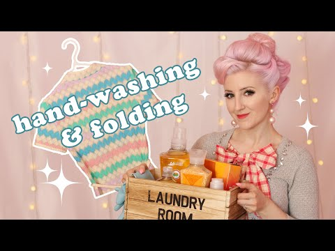 Cleaning and Caring for Vintage Clothing w/ method (ASMR soft spoken + washing, package tapping)