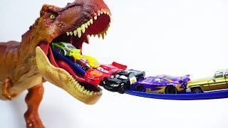 Jurassic World t-rex monster toy slide tayo disney car toys super wings defeat dinosaurs
