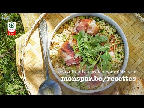pêche-au-fromage-de-chèvre-et-lard,-salade-de-couscous-perlé