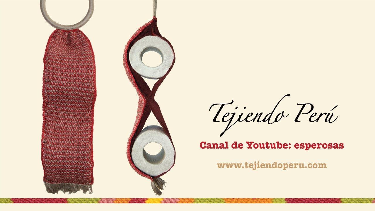 Porta rollos de papel tejido en ganchillo tunecino - YouTube