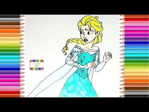 Dibujar y colorear Elsa de Frozen, Disney - YouTube