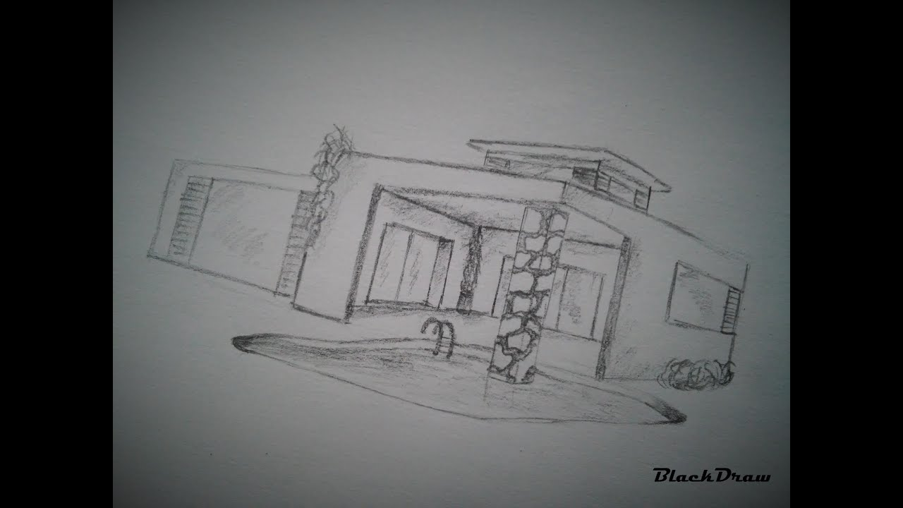 How to draw a modern house 2 youtube Drawing modern houses