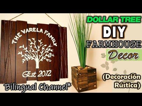 Dollar Tree DIY | Farmhouse Wall Decor | Wood Flower Vase| English CC | Decoracion Rústica