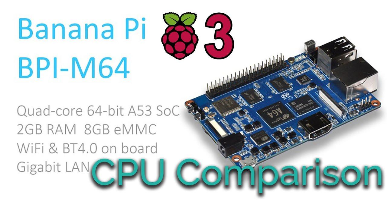 Banana Pi M64 Vs Raspberry Pi 3 CPU Comparison