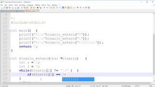 De Binario  (Cadena) a Numero Entero | Programación en C