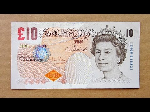 10 British Pounds Banknote Ten Sterling England 2000 Obverse Reverse