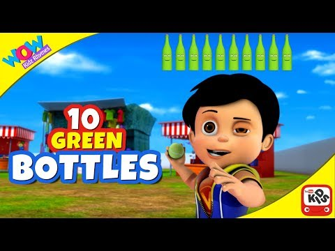 Ten Green Bottles with Vir: The Robot Boy | COUNT NUMBERS & PLAY GAMES by WowKidz Rhymes