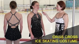 Crisscross Ice Skating Costume,  Rhinestone Neckline, Adult Figure Skater