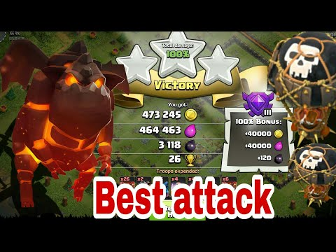 coc lava loon best  loot attack 2017