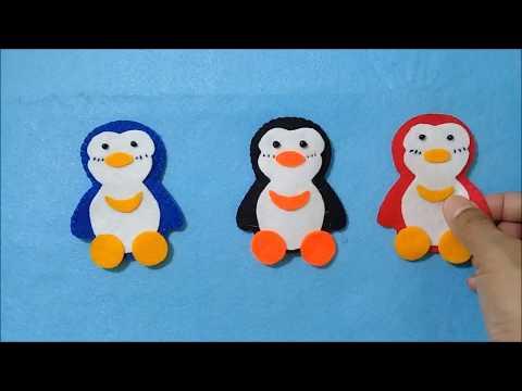 Stiker Karakter Pinguin Dari kain flanel // Felt Envelope Widths Penguin//Amplop Lebaran