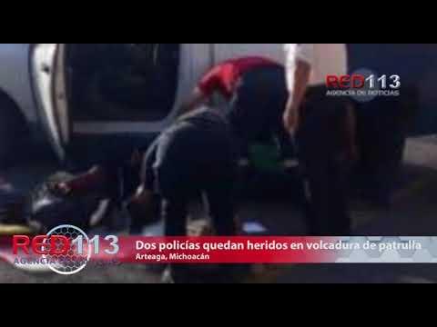 VIDEO Dos policías quedan heridos en volcadura de patrulla