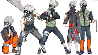 Drawing KAKASHI In Different Styles (Naruto,Akatsuki,Zabuza,Gai)
