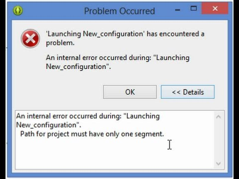 "Fixing of Eclipse ADT error ""An internal error occurred during Launching New configuration."""
