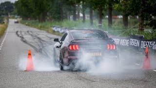 Ford Mustang V8 Royal Crimson GT Performance - Crazy Burnout, Revs & Accelerations !