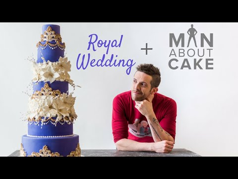 PURPLE ROYAL WEDDING CAKE With Gold Accents and White Flowers | Man About Cake