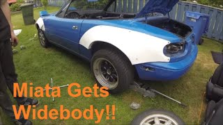 Miata Gets Widebody and Stripped Down! - Rocket Bunny Miata Build Part 5